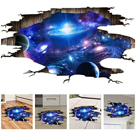 Amaonm Creative 3d Blue Cosmic Galaxy Wall Decals Removable Pvc Magic 3d Milky Way Outer Space Planet Window Wall Stickers Murals Wallpaper Decor For Home Walls Floor Ceiling Boys Room Kids