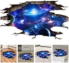 Amaonm Creative 3D Blue Cosmic Galaxy Wall Decals Removable PVC Magic 3D Milky Way Outer Space Planet Window Wall Stickers...