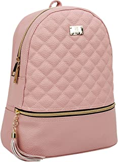 Copi Women's Simple Design Fashion Quilted Casual Backpacks Pink