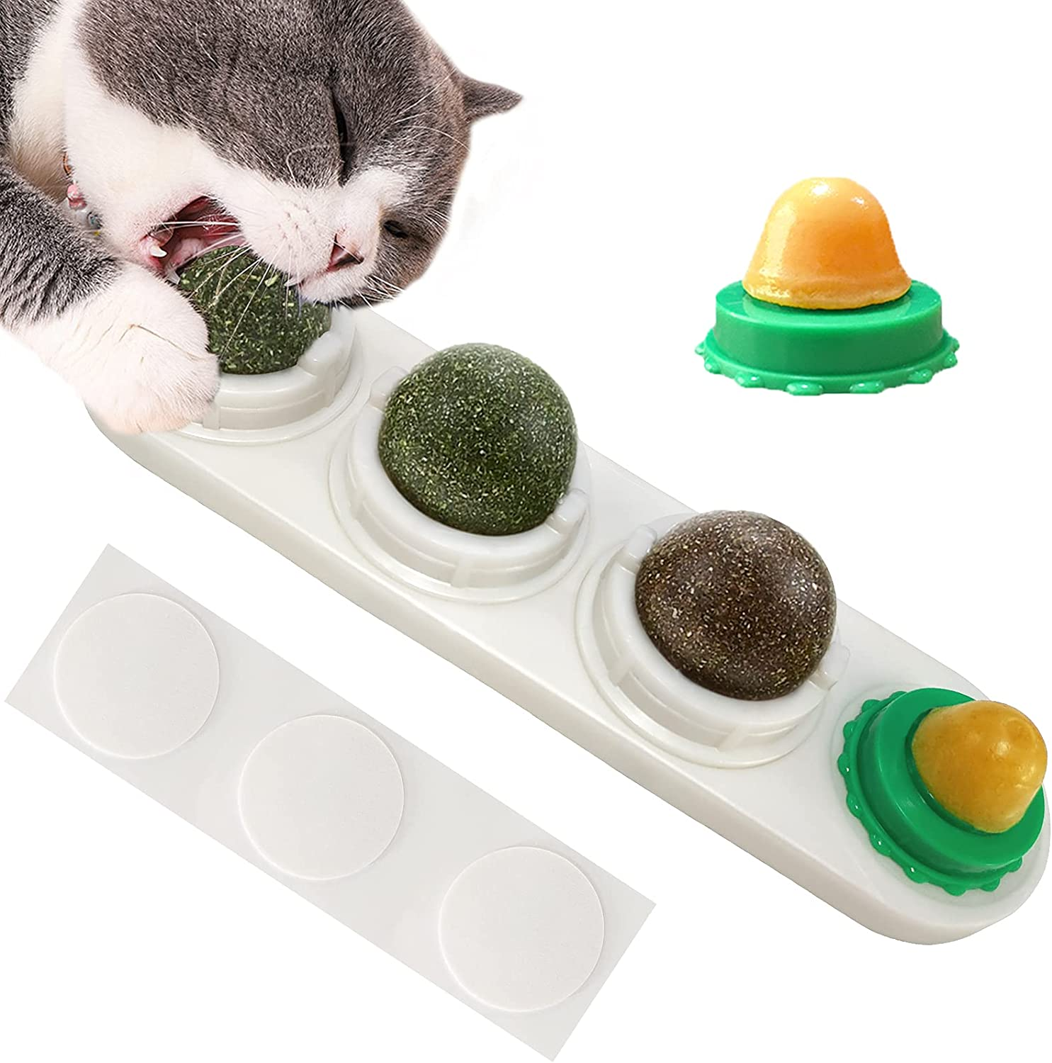 LMUGOOS Catnip Indianapolis Mall Wall Ball Toys with for Large-scale sale Cats 2 Lick Candies Natu