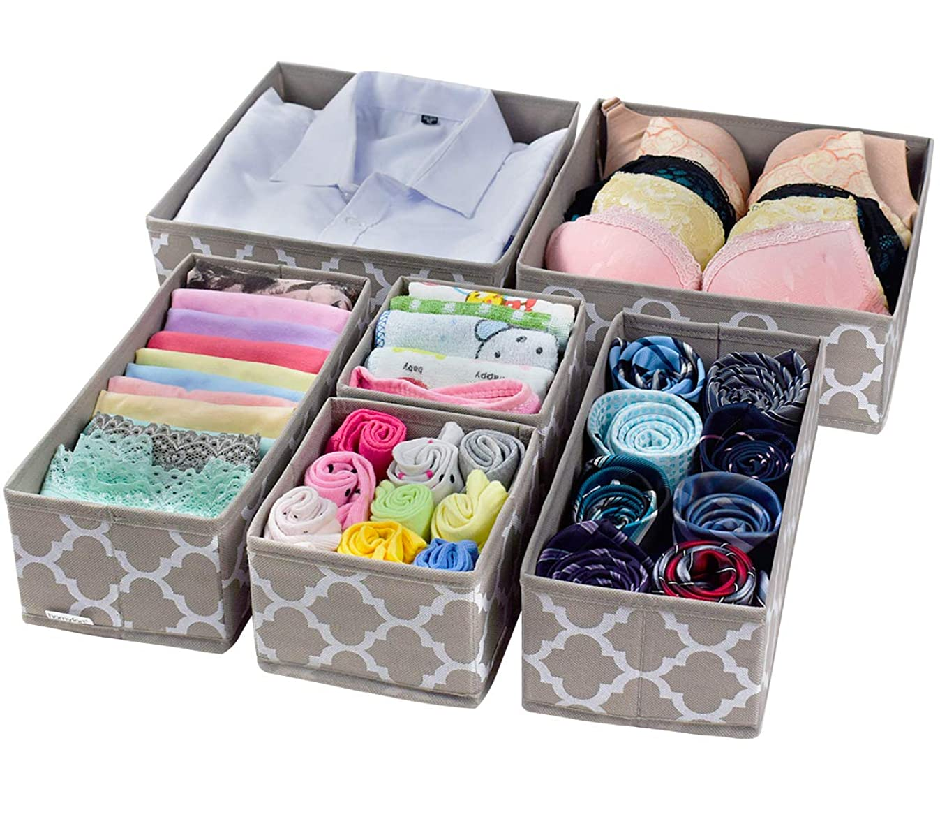 Foldable Cloth Storage Box Closet Dresser Drawer Organizer Cube Basket Bins Containers Divider with Drawers for Underwear, Bras, Socks, Ties, Scarves, Set of 6 Light Coffee with White Lantern Pattern