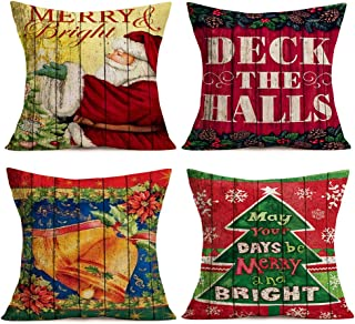 Hopyeer Happy MerryChristmas Throw Pillow Cover Xmas SantaClaus Deck the Halls Jingle Bell Snowflake Tree Pillowcase Vintage Wood Classical Cotton Linen Cushion Cover for Sofa 18