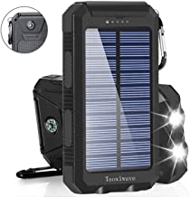 Solar Charger Solar Power Bank 20000mAh Waterproof Portable External Backup Outdoor Cell Phone Battery Charger with Dual LED Flashlights Solar Panel for iPhone Android Cellphones (Black)