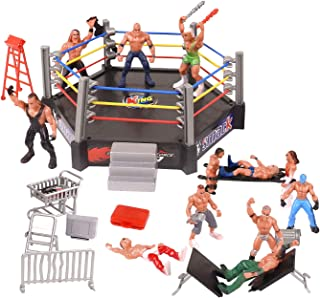 HAPTIME 32 Pieces Mini Wrestling Playset Include 12 Miniature Action Figure Wrestling Players and Multiple Realistic Accessories for Kids Children