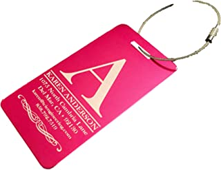 Personalized Luggage Tags Gifts with Engraved Design - Elegant and Durable Travel Suitcase Name Tags, Gift for Travelers Men and Women (Rose, 2 Luggage Tags)