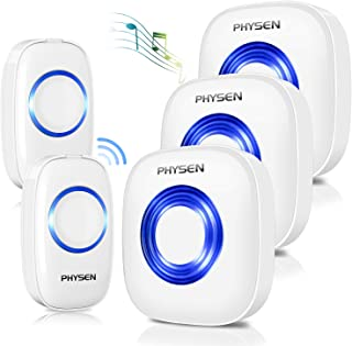 Physen Model CW Waterproof Wireless Doorbell kit with 2 Buttons and 3 Plugin Receivers,1000 feet Long Range,4 Volume Levels and 52 Melodies Chimes,No Battery Required for Receiver