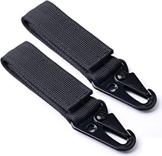 CamGo Tactical Belt Hanging Carabiners Hook Nylon Webbing Buckle Strap Clip for MOLLE Backpack, Pack of 2
