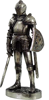 7 Inch Armored Medieval Knight with Shield and Sword Statue Figurine
