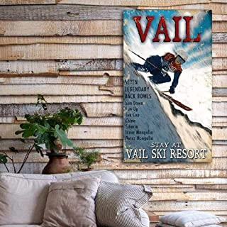 CELYCASY Gift for Skier - Vail Colorado Wood Sign, Customizable Ski Decor, Personalized Skiing Gift, Cabin Decor, Skiing Sign, Ski Colorado
