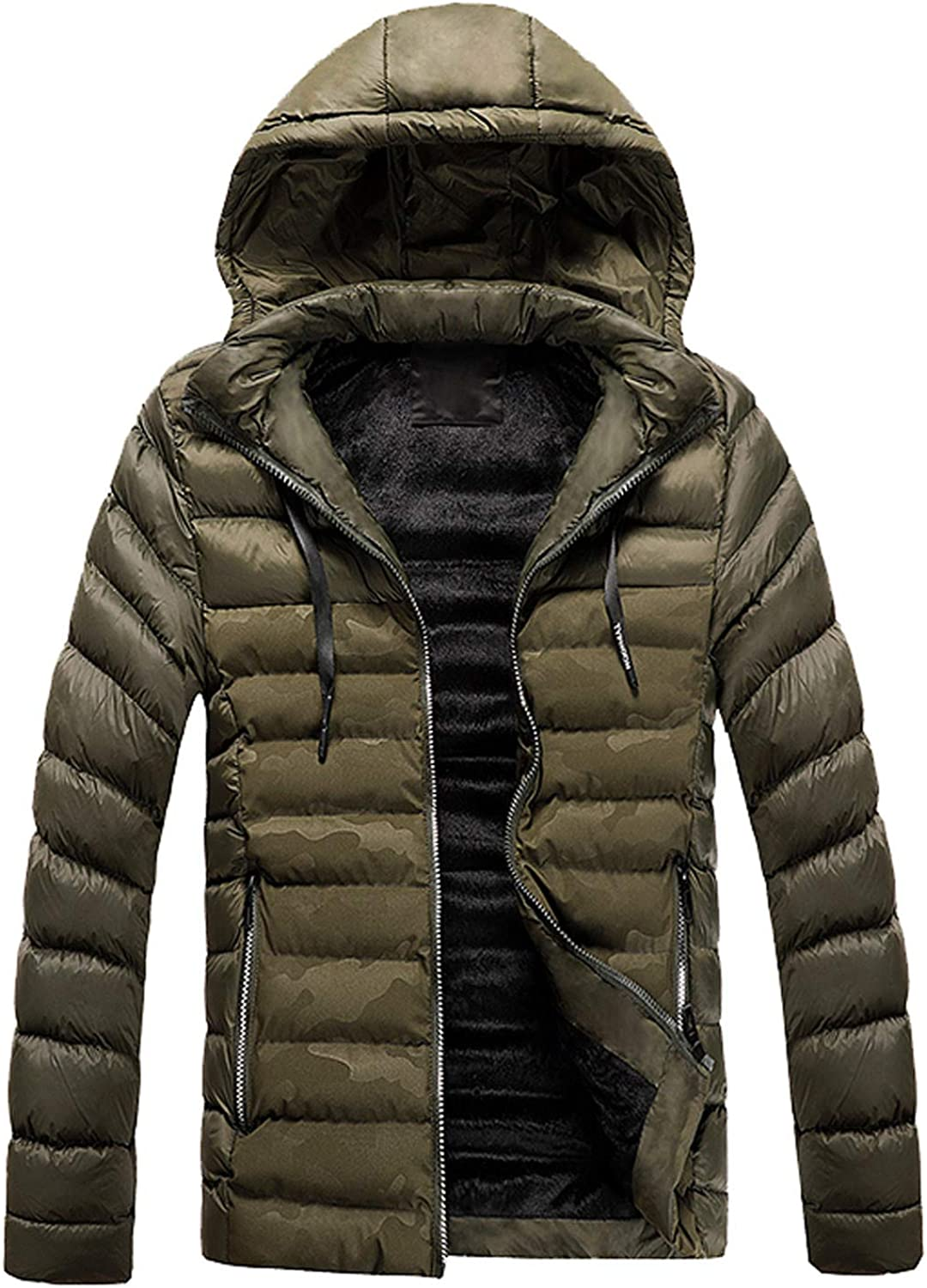 WUAI-Men Hooded Packable Down Jacket Lightweight Big and Tall Quilted Puffer Insulated Winter Coat Outerwear