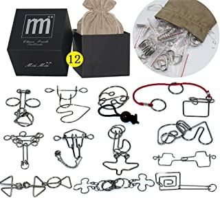 High Difficulty - 12 Pieces Metal Wire Brain Teaser - Assembly & Disentanglement Puzzles Toys - Magic Trick Toys Puzzles Set - Ideal Gifts Kids Adults