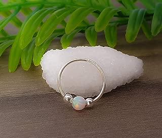 20G Sterling Silver helix Cartilage Earring Hoop - ear ring - white opal cartilage earring, silver cartilage hoop