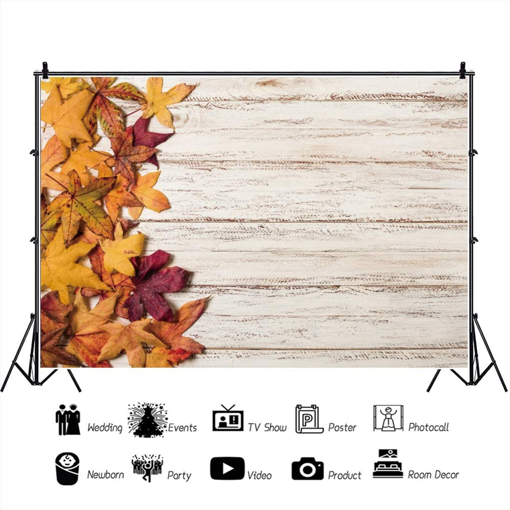 DORCEV 12x10ft Rustic Wood Photography Backdrop Retro Texture Wooden Wall Maple Leaves Background Thanksgiving Autumn Family Party Portraits Photo Studio Props Vinyl Wallpaper