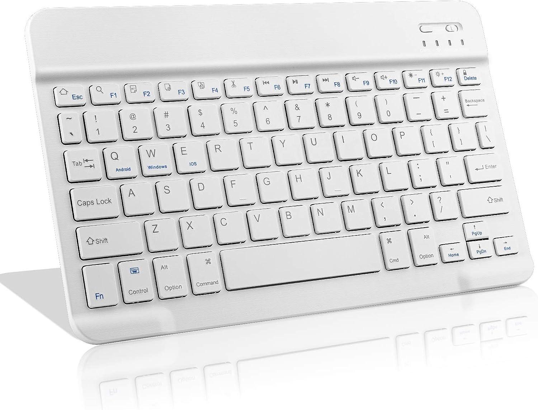 Amazon Fire HD 10 Wireless Keyboard,Universal Slim Portable Bluetooth Keyboard Compatible with Amazon Fire HD 10 Keyboard with Built in Rechargeable Battery,White