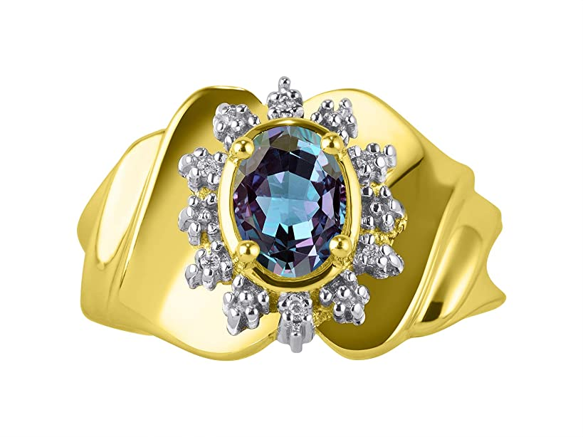 豊富な罰する重量ゴージャスな7x5 楕円形半貴石、本物のカラーストーンと本物のダイヤモンドセット、イエローゴールドメッキシルバー925、サイズ6、7、8。