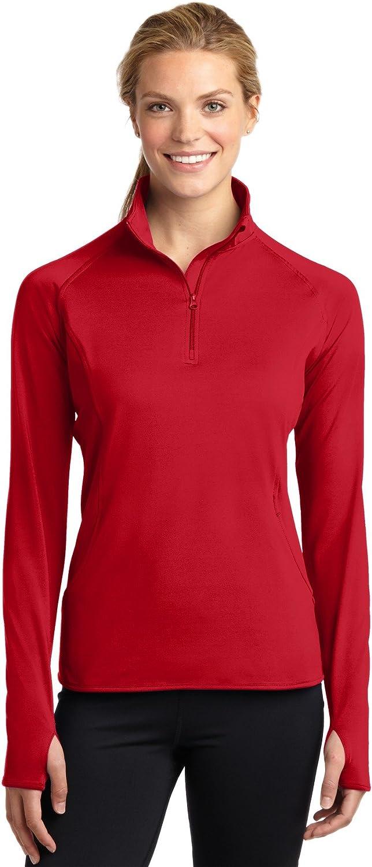 Sport-Tek Ladies Sport-Wick Stretch 1/2-Zip Pullover 3XL True Red