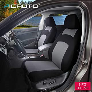 PolyCloth Car Seat Covers - Easy Wrap Two-Tone Accent Interior Protection for Auto,Truck, Van, SUV Gray/Black