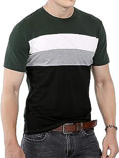 Mens Summer Fashion Slim Fit Color Block Short Sleeve Shirts Casual T-Shirt