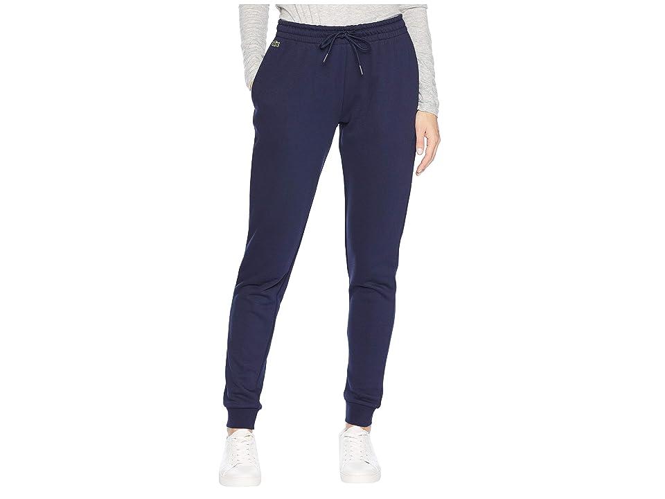 Lacoste Fleece Drawstring Sweatpants (Navy Blue) Women