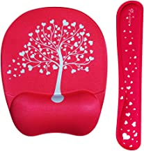Romantic Pink Heart Tree Wrist Rest Support for Keyboard & Mouse Pad Combo with Comfortable Memory Foam Padding and Ergonomic Design for PC Computer Laptop Mac - Your Office Full of Colours