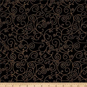 "Westrade Textiles 110"" Wide Quilt Back Willow Metallic Fabric by The Yard, Black/Gold"