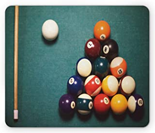 Lunarable Billiard Mouse Pad, High Angle View of Pool Table with Cue and Balls Sports Party Fun, Rectangle Non-Slip Rubber...