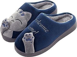 CELANDA Cat Slippers Women Men Winter Cotton Slippers Unisex Plush Warm Soft Slippers Comfortable Non-Slip Home Slippers C...