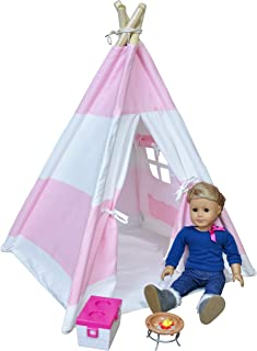 A Mustard Seed Toys 18 inch Doll Tent for Kids, Teepee, American Designed for Dolls or Dogs and Cats, with Case, Pink Play Tents Indoor for a Girl, Boy, Toddler, Dog, or Cat
