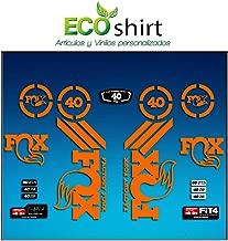 Ecoshirt ZK-V5U8-V5UF Pegatinas Sticker Fork Fox 40 Am67 Aufkleber Decals Autocollants Adesivi Forcela Gabel Fourche, Naranja Fluor