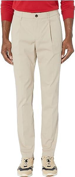 Cotton Stretch Single Pleat Pants