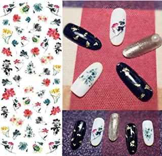 Nails Art Water Decal Beautiful colors Lotus Ink painting Water Transfer Stickers Pattern Nail Sticker Tattoo