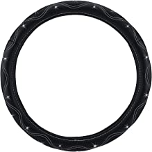 Pilot SWR-0113 Swarovski Crystal Embellished Faux Leather Steering Wheel Cover - Black Wavy Stitch
