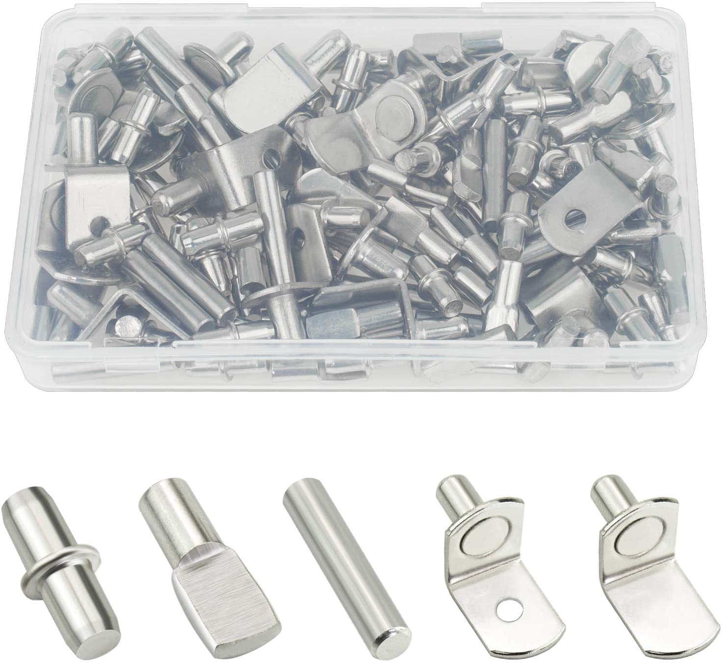 Sutemribor High quality new 85PCS Nickel Plated Recommendation Shelf Cabinet Pegs Bracket Furnit