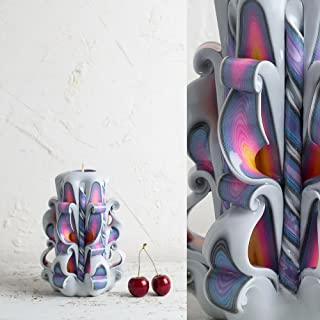Candela Intagliata A Mano - Scultura Ornamentale Fatta A Mano in Stile Arcobaleno e Bianco - Colori Delicati - EveCandles