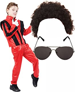 Boys Michael Jackson 80S Fancy Dress Costume with Wig & Glasses Age 7-9 Red