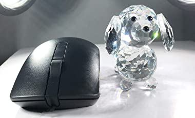Amlong Crystal Figurine Crystal Dog Cut Glass Collectible, Black Nose