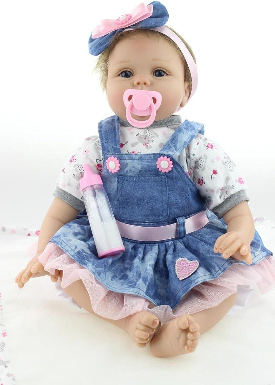SYP 22inch Realistic Reborn Baby Doll Lifelike Girl Silicone Vinyl Denim Tutu Dress 55cm Doll Magnetic Gift toys