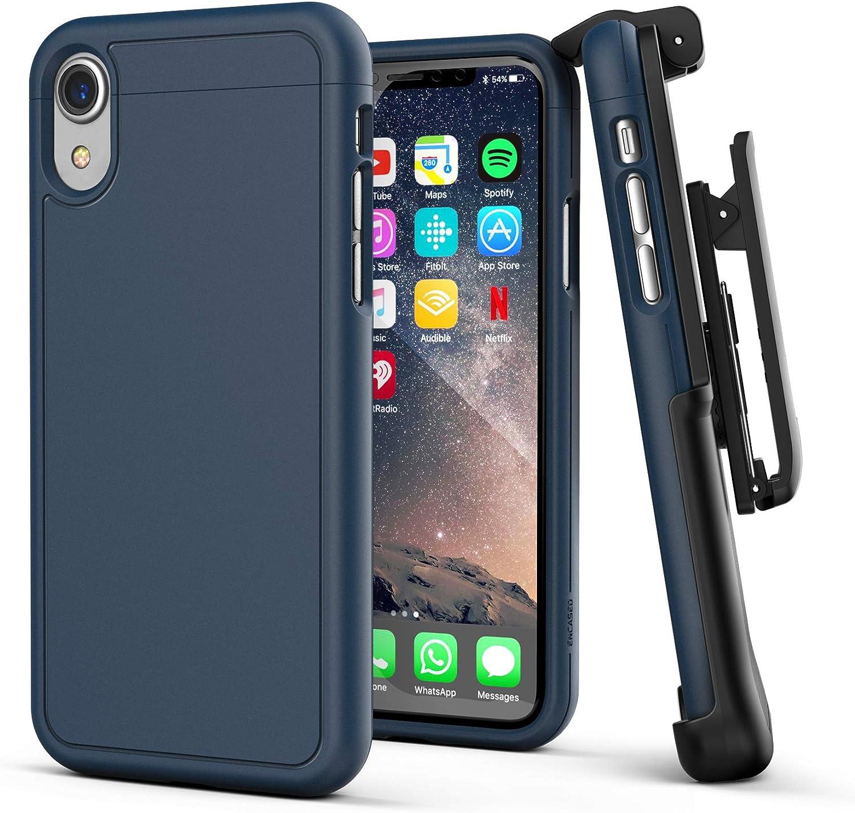 Encased iPhone XR Belt Clip Holster Case, Ultra Slim Protective Cover with Belt Holder (Slimshield Series) Navy Blue