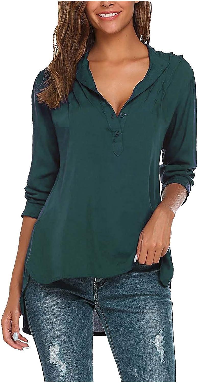 Long Sleeve Shirts for Women, Women Summer Long Sleeve V Neck T-Shirts Basic Tee Tops Button-Down Shirts Blouse