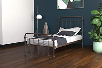 DHP Winston Metal Bed Frame, Multifunctional Piece with Adjustable Heights for Under Bed Storage, Bronze - Twin