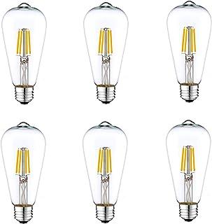 Pack of 6 - Classic Retro Wire Filament ST64 Type 4 Watt LED Light Bulb E27 Base Lamp DC 12V Low Voltage for Marine RV Boa...