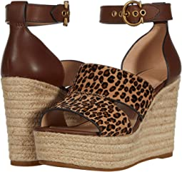 코치 에스파듀르 엣지 샌들 COACH Isla Wedge Sandal,Natural/Black Haircalf