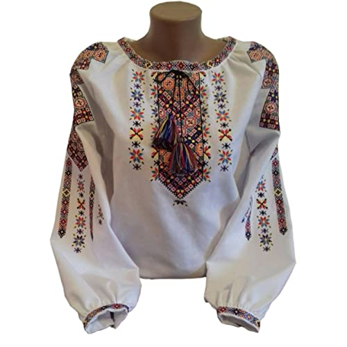 d92dbabceb1 Embroidered Blouse for Women on a White Homespun Cloth Vyshyvanka Ukrainian  Bright Stars- Limited TIME