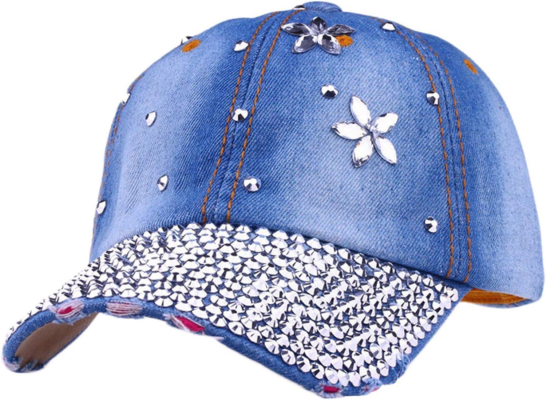 Denim Diamond Baseball Cap Women Girls Bling Baseball Hat Rhinestone Cowboy Sports Cap Studded Crystals Adjustable Hats