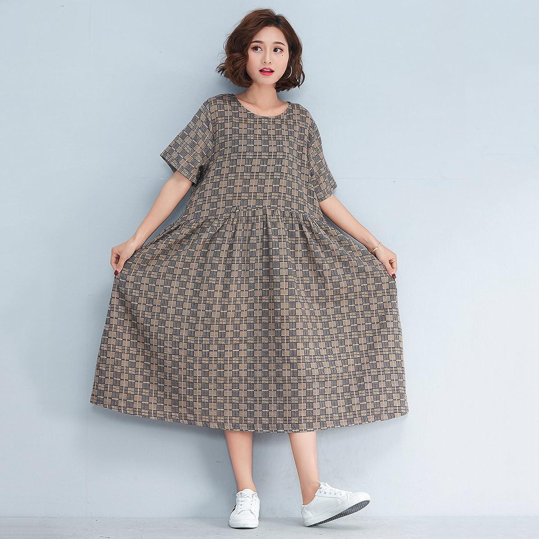 XIURONG Female Fat Mm Cotton Short Sleeved Summer Dress Dress Loose
