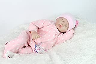 NPK Reborn Baby Dolls Girl 22 Inches Soft Silicone Vinyl Realistic Lifelike Sleeping Handmade Weighted Baby Toddler Gifts Pink Outfit Gift Set for Ages 2+