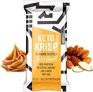 Keto Krisp Keto Bars - Low-Carb, Low-Sugar - (12 Pack, Almond Butter) - Gluten-Free Crispy, Perfectly Delicious, Ketogenic...