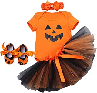 Baby Toddler Girls 1st Halloween Outfit Pumpkin Skull Romper Tulle Skirt Headband Shoes Party Dress up Costume 4Pcs Set