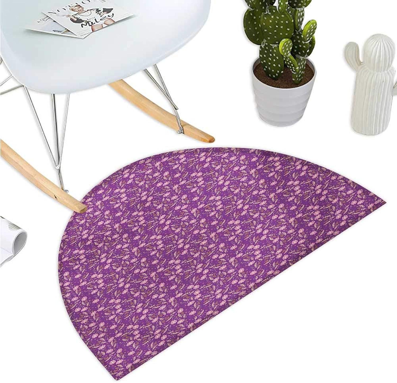 Floral Semicircle Doormat Flourishing Nature with Blooming Petals and Leaves Romantic Design Halfmoon doormats H 51.1  xD 76.7  Purple Pale Pink Marigold