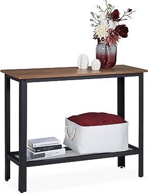 Relaxdays, Noir Console, Design Industriel, Structure métallique, élancée, Table Support entrée,80 x 101,5 x 35 cm, Brun, Aci